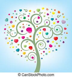 coração, árvore, floral