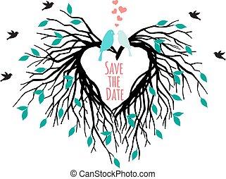 coração, árvore, pássaros, casório