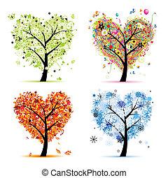 coração, árvore, seu, primavera, estações, winter., -, outono, verão, arte, quatro, desenho, forma