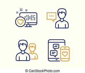 coração, ícones, mídia, sinal., pessoa, vetorial, social, par, conversa, set.