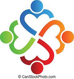 coração, 4, logotipo, equipe, vetorial
