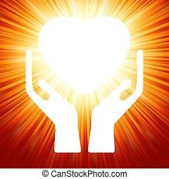 coração, abertos, eps, hands., 8