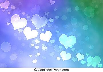 coração, abstratos, fundo, luzes