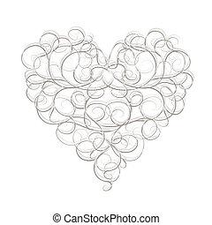 coração, abstratos, seu, desenho, forma