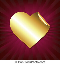 coração, adesivo, ouro