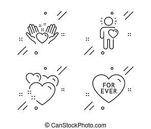 coração, amigo, amor, amizade, ícones, amor, set., vetorial, sinal., ter, já, sweetheart.