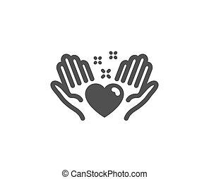 coração, amor, amigos, sinal., vetorial, icon., ter, amizade, mão.