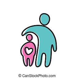 coração, amor, pai, ícone