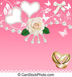 coração, anéis, fundo, casório, pérolas, rosa
