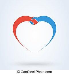 coração, aperto mão, amor, concept., símbolo., ilustração, vetorial, compaixão, mãos, amizade, junto.