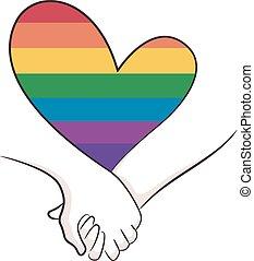 coração, arco íris, ilustração, lgbt, mãos, ter