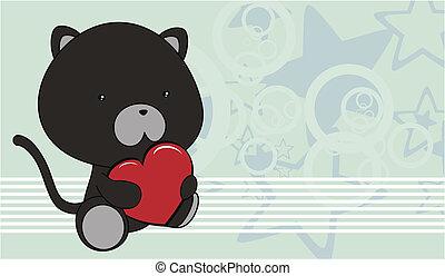 coração, b, amor, gato, pretas, bebê, caricatura