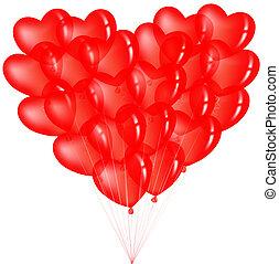 coração, balões, grupo, vermelho, forma