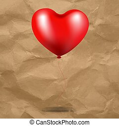 coração, balloon, papelão, experiência vermelha