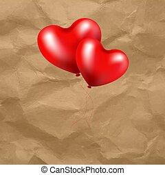 coração, balloon, transparente, fundo, vermelho