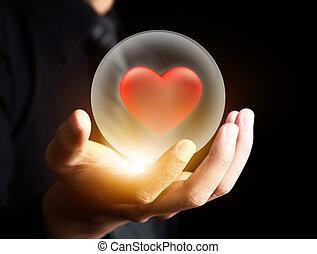 coração, bola, cristal, vermelho