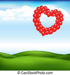 coração, bolas, paisagem, forma