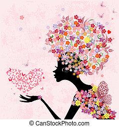 coração, borboletas, moda, flores, menina