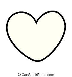 coração, branca, pretas, caricatura, ícone