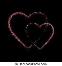 coração, brilhar, pretas, cor-de-rosa, experiência.