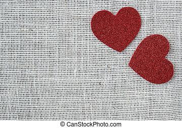 coração, burlap, experiência vermelha