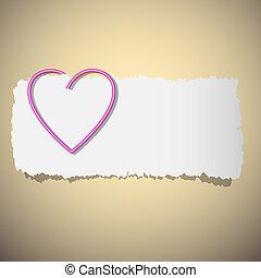 coração, clipe para papel, dado forma