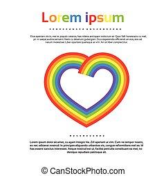 coração, coloridos, arco íris, logotipo, ícone, vetorial