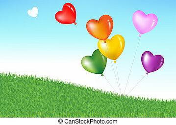coração, coloridos, forma, balões