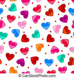 coração, coloridos, padrão, sobre, seamless, forma, pretas, divertimento