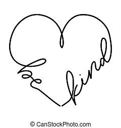 coração, conceito, ser, tipo, dado forma, lettering., desenho