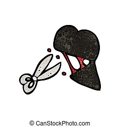 coração, corte, pretas, caricatura