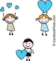 coração, crianças, doodle, figuras, vara, bandeiras
