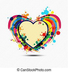 coração, desenho, artisticos, pintura