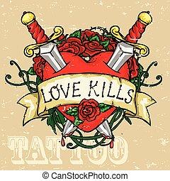 coração, desenho, tatuagem
