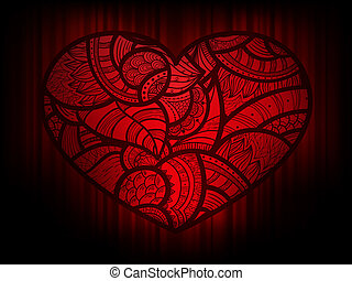 coração, doodle, fundo, vetorial