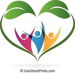 coração, ecologia, amor, pessoas, folheia, logotipo