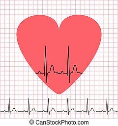 coração, electrocardiograma, ícone