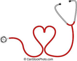 coração, estetoscópio, forma