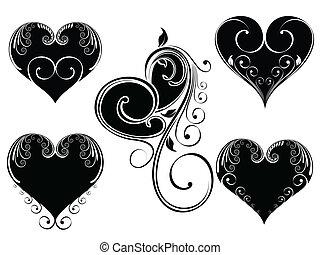 coração, estilo, cor, vindima, ilustração, valentine, day., forma, vetorial, desenho, fundo, floral, pretas, branca, decorado, isloated