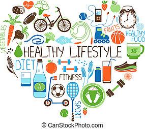 coração, estilo vida, dieta, sinal, condicão física, saudável