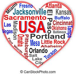 coração, eua, maior, americano, palavras, cidades, nuvem