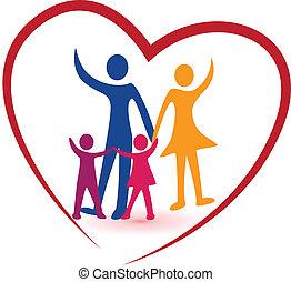 coração, família, vermelho, logotipo