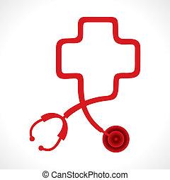 coração, fazer, estetoscópio, forma