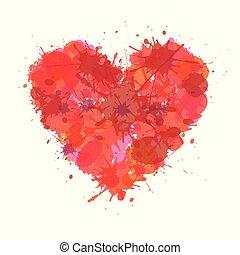 coração, feito, amor, illustration., cor, vetorial, stain., grunge