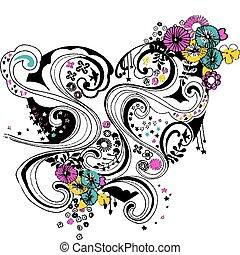 coração, flor, desenho, espiral, florescer