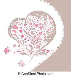 coração, flor, forma abstrata, convite, cartão