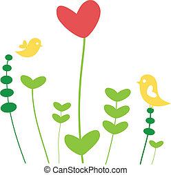 coração, flor, pássaros