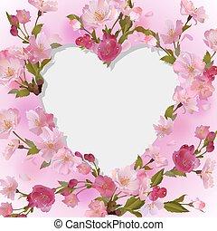 coração, flores, fundo, primavera