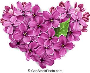 coração, flores, lilás