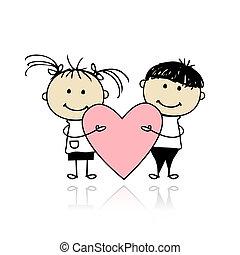 coração, grande, crianças, valentine, day., desenho, seu, vermelho